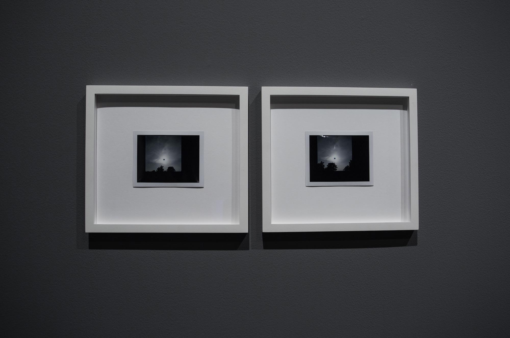 LEFT - RIGHT:  LEFT: Michael John Whelan, Transit of Venus (1), 2012, framed polaroid, 22 x 24 cm  //  RIGHT:  Michael John Whelan, Transit of Venus (2), 2012, framed polaroid, 22 x 24 cm