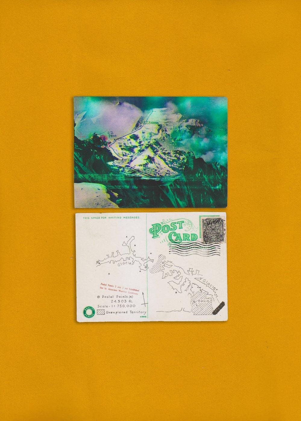 Mehreen Murtaza  Telegram from the Future, Postcard from Karakorum 2013 Postcard (back & front) 32.70 x 39.53 x 3.91 cm (framed and 8.89 x 12.7 cm (postcards)
