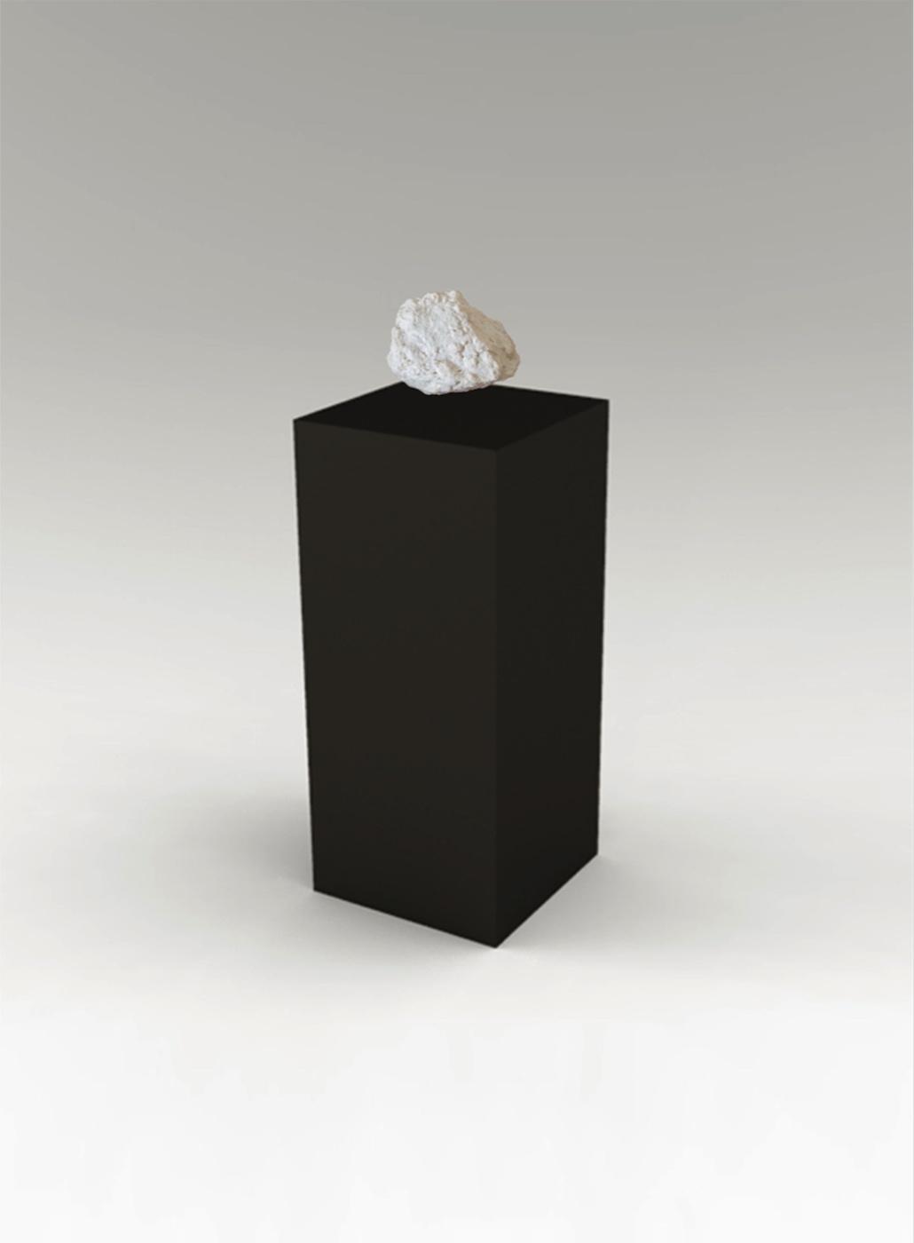 Mehreen Murtaza  Floating Stone 2013 Black plinth, Crealev levitation module CLM-1 and fiberglass scaled model of floating stone of Jerusalem 121.92 x 20.32 x 20.32 cm (plinth) and 11.43 x 20.32 cm (stone)