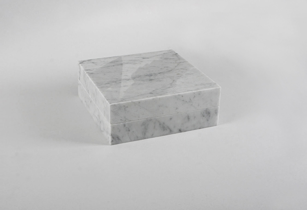 Night enclosed in marble (front) 2013 (ongoing series) Carrara marble, 1 cm3 of a night (Naas Forest, Mount Lebanon), metallic hinges 23 x 23 x 9 cm