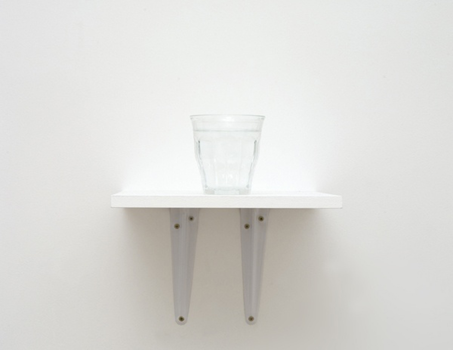 Drink europa 2013 Drinking glass, water (an equal mix of 28 mineral waters, from the 28 European countries), wooden shelf 21 x 25 x 7 cm 3 + 2AP