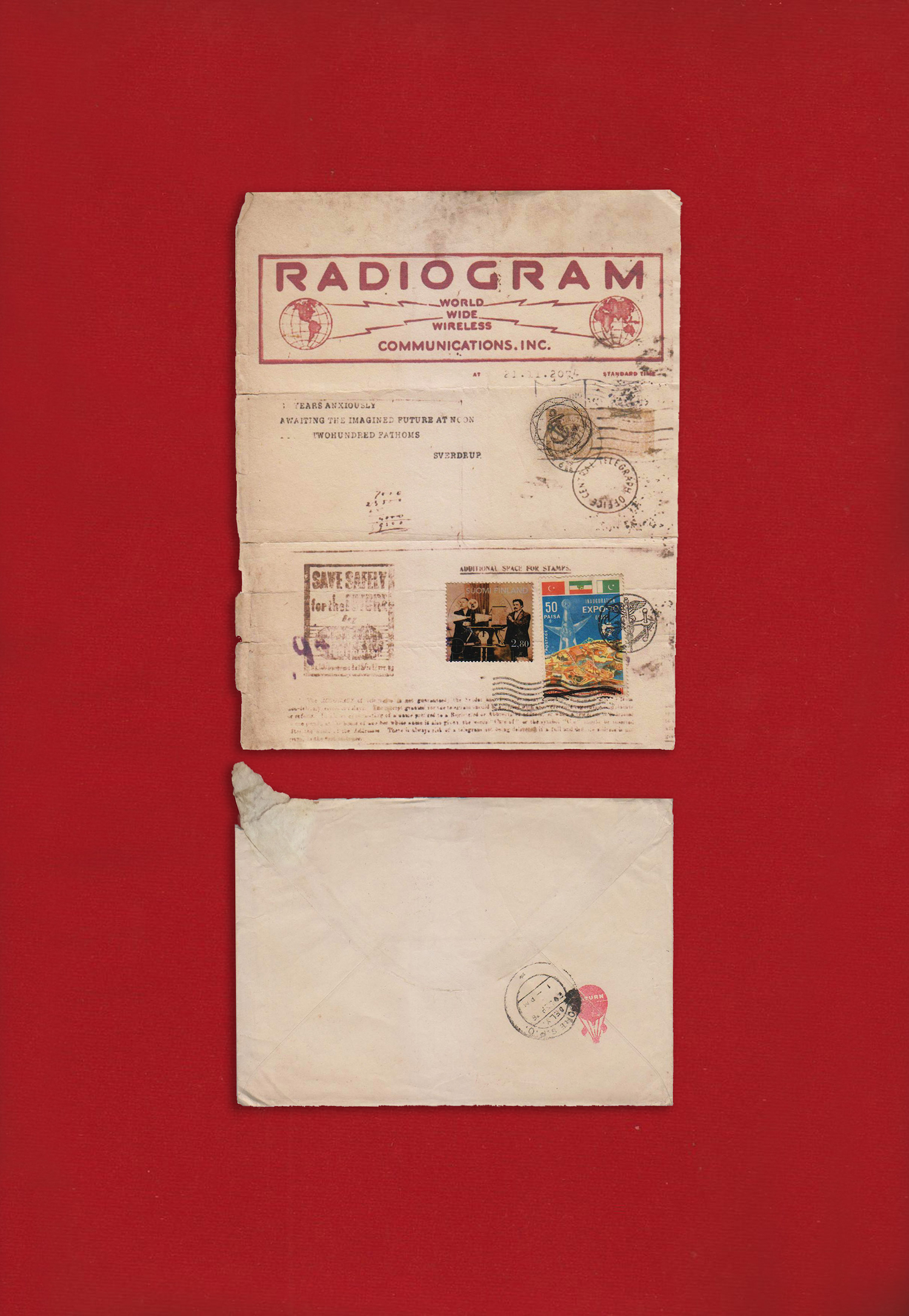 Telegram from the Future, Radiogram 2013 Molded paper, rubber stamps, postage stamp, ink, accompanying envelope, red velvet 36.83 x 55.25 x 3.91 cm (framed) 17.78 x 22.86 cm (molded paper) 12.95 x 18.28 cm (envelope)