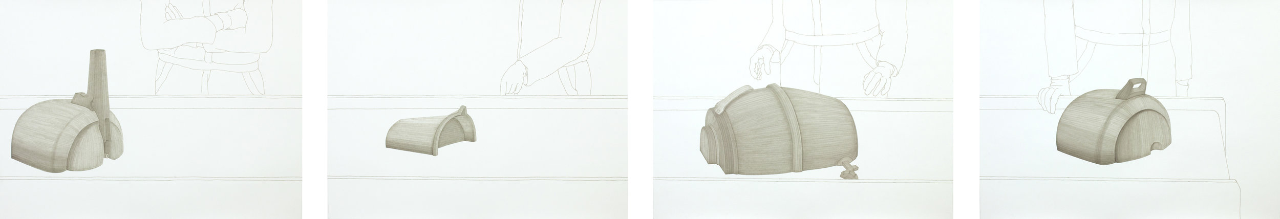 Mariam Suhail  Partial View of Partial Production 2013 Permanent marker on paper 4 drawings 96 x 70 cm (each)
