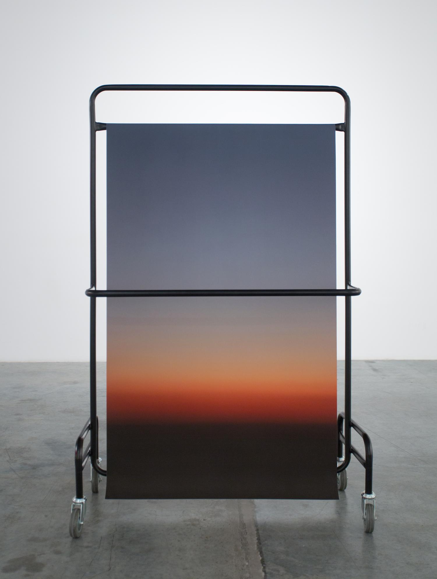 Stéphanie Saadé  Structure 3 (Suspended Horizon) 2012 Mixed media – Chrome structure, Photograph (300 x 90 cm) 170 x 100 x 150 cm Edition 1/2