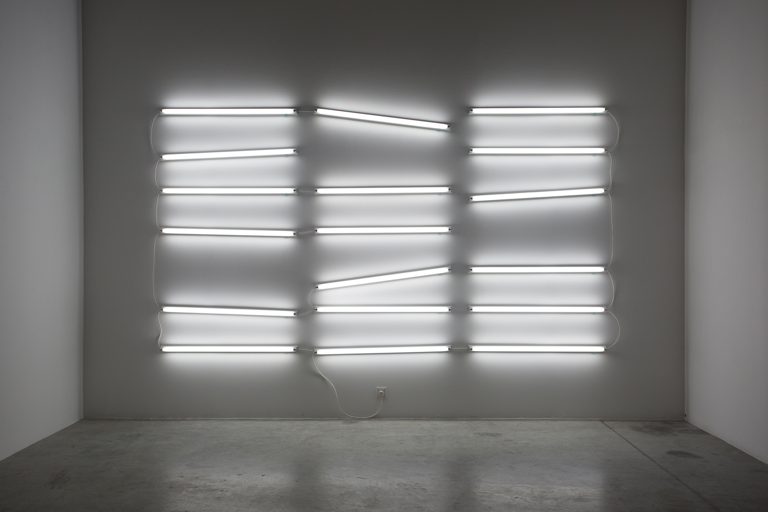 Doubt in the definite 2014 18 white tube lights Variable dimensions (complete installation on display – 220 x 401 cm)