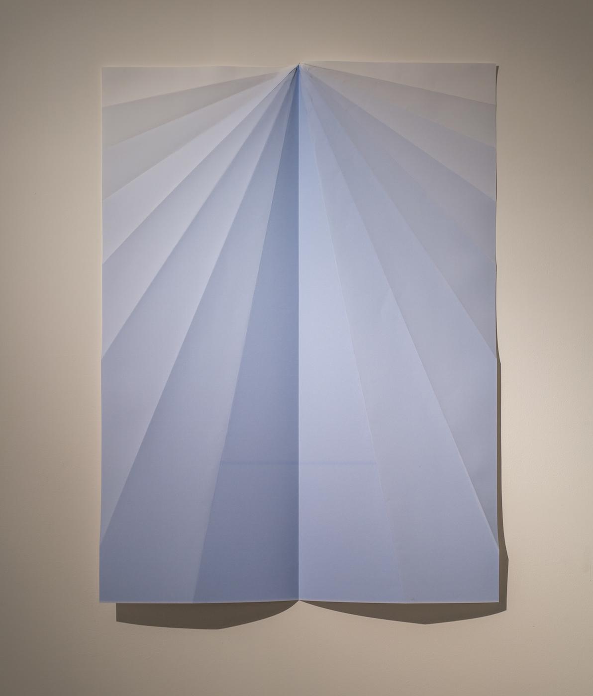 Blue Paperplane 2015 Inkjet on folded paper 146 x 105 cm