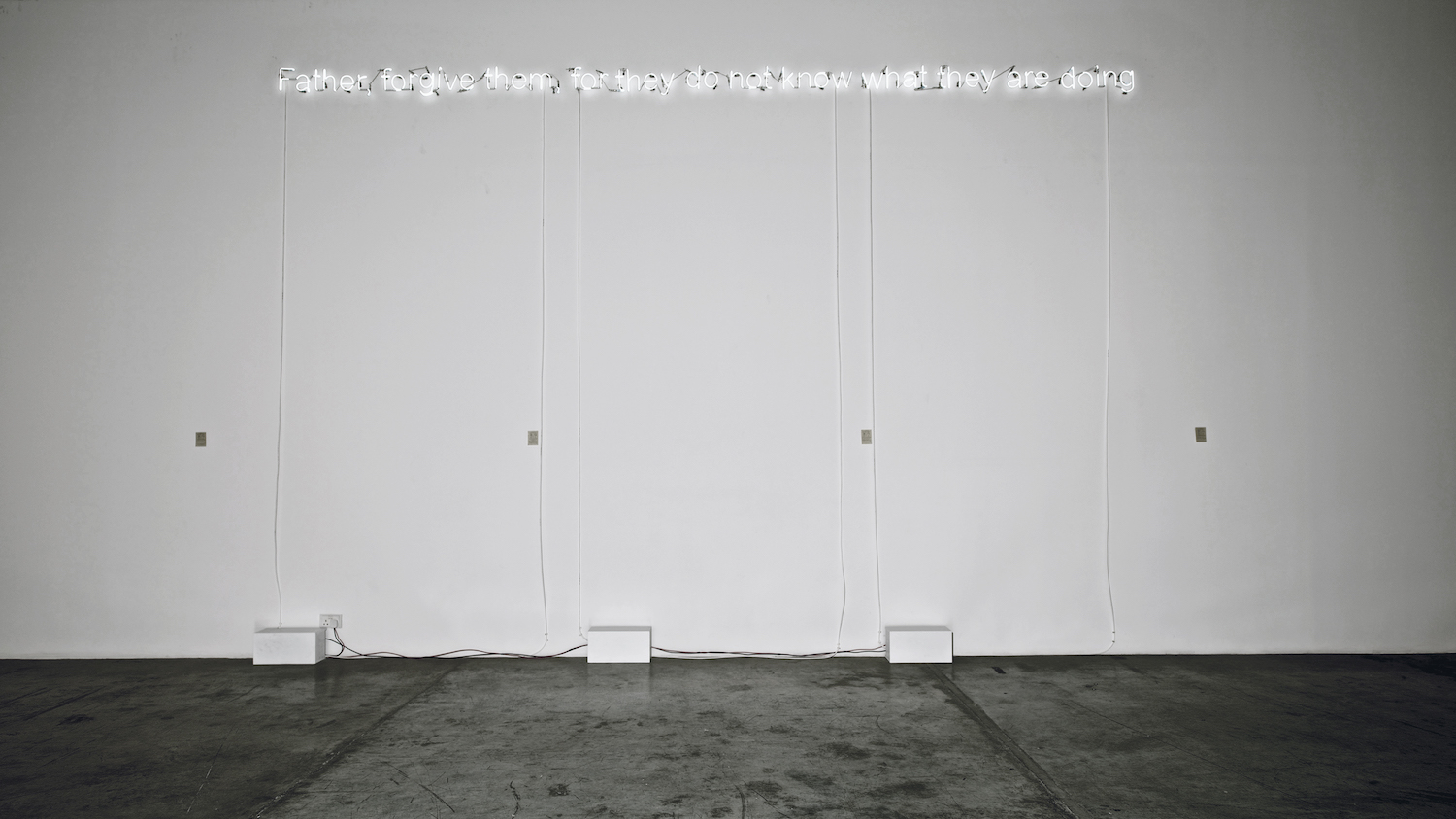 Father forgive them, for they do not know what they are doing 2013 Neon light 15 x 570 cm 3 + 1AP