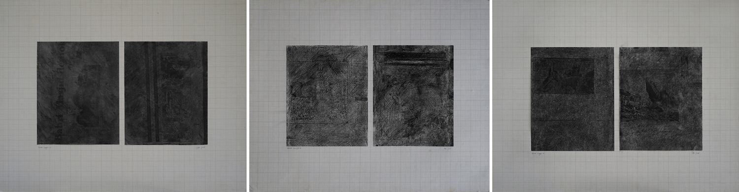 Lala Rukh  Mirror Image 1, 2, 3 1997 Mixed media on graph paper 48 x 60 cm