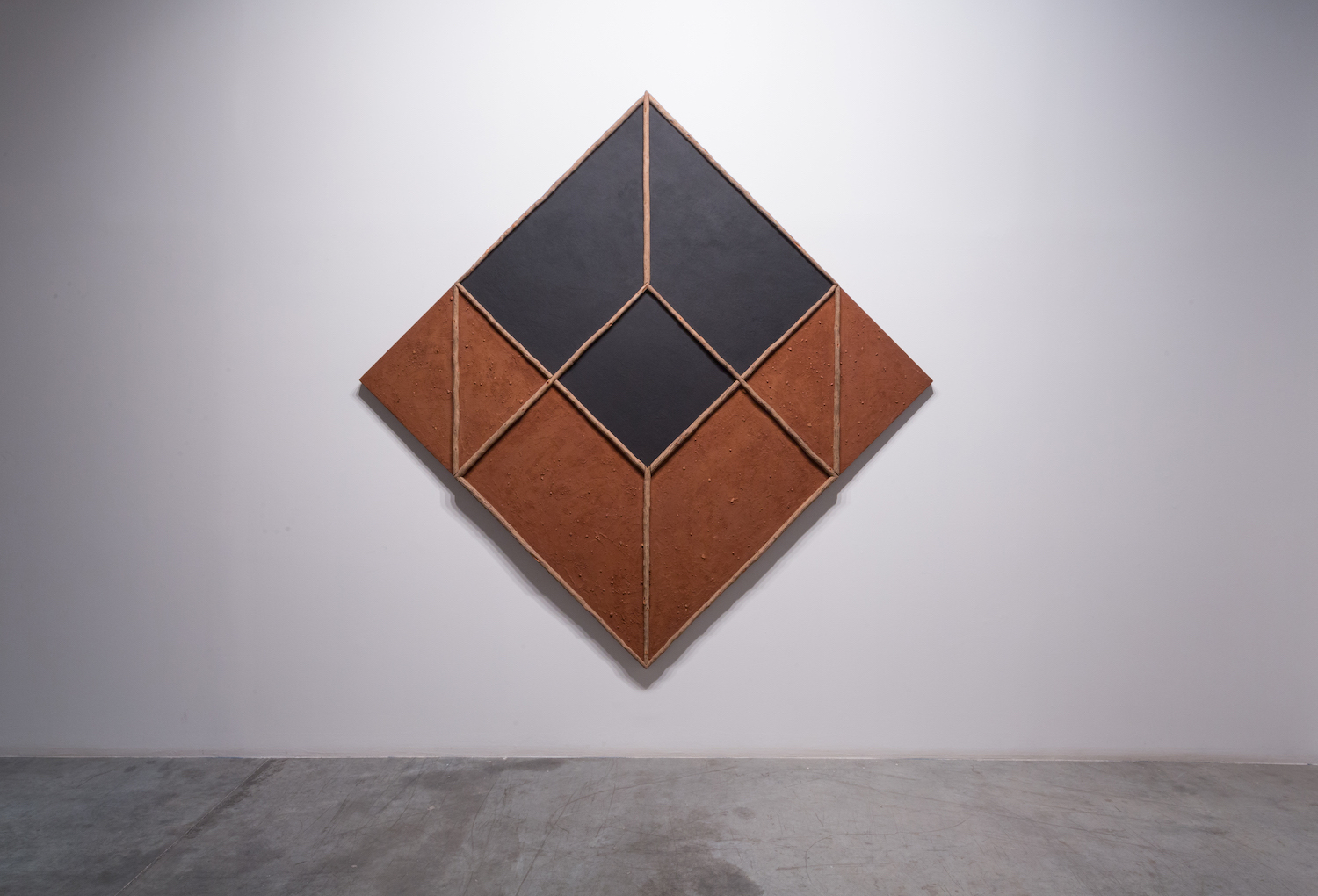 Hossein Valamanesh  Empty Cube 1985 Wood, earth, sand, black iron oxide 174 x 274 cm