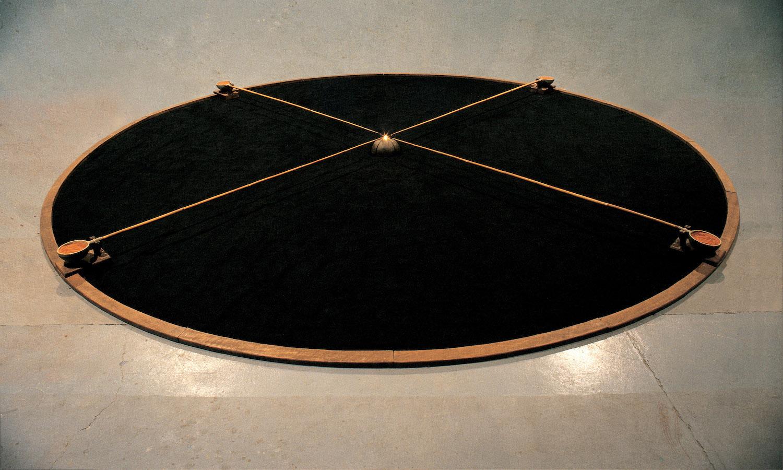 The Untouchable 1984 Wood, ceramic, bamboo, sand, black hessian, oil burner 500 x 15 cm
