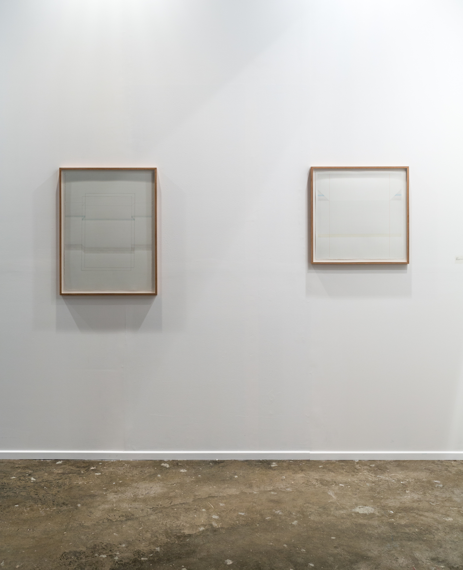 LEFT - RIGHT  LEFT: Untitled 4, 2016, graphite pencil, ballpoint pen and acrylics on paper, 76 x 56.5 cm  //  RIGHT: Untitled 2, 2016, graphite pencil and acrylics on paper, 56.5 x 56.5 cm