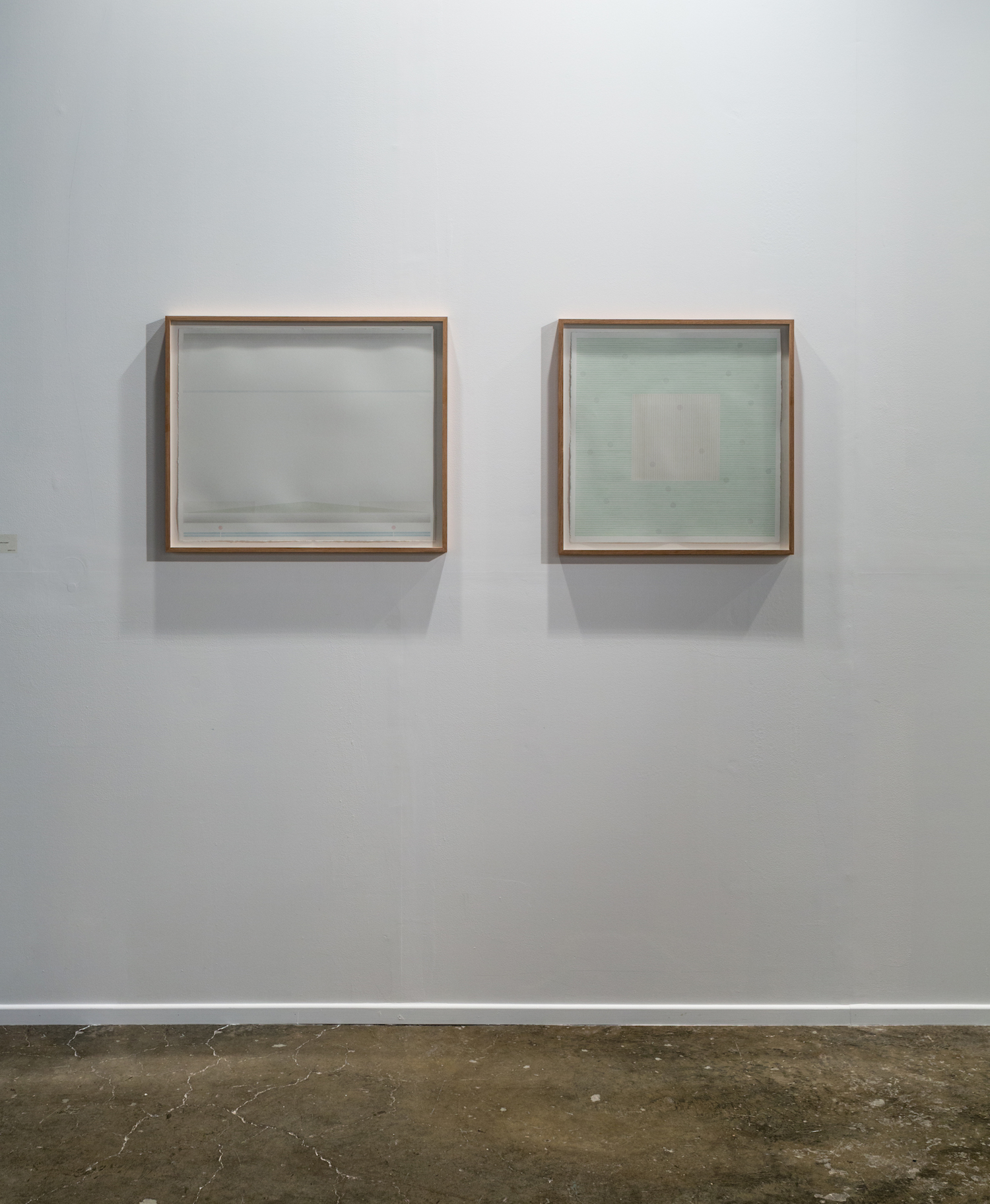 LEFT - RIGHT  LEFT: Fairweather, 2016, graphite pencil and acrylics on paper, 56.5 x 68.5 cm  //  RIGHT: Winter's end, 2016, graphite pencil and acrylics on paper, 56.5 x 56.5 cm
