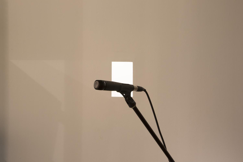 Tim Bruniges   GREY NOISE, 2018 Installation Microphones, speakers, regenerating sound