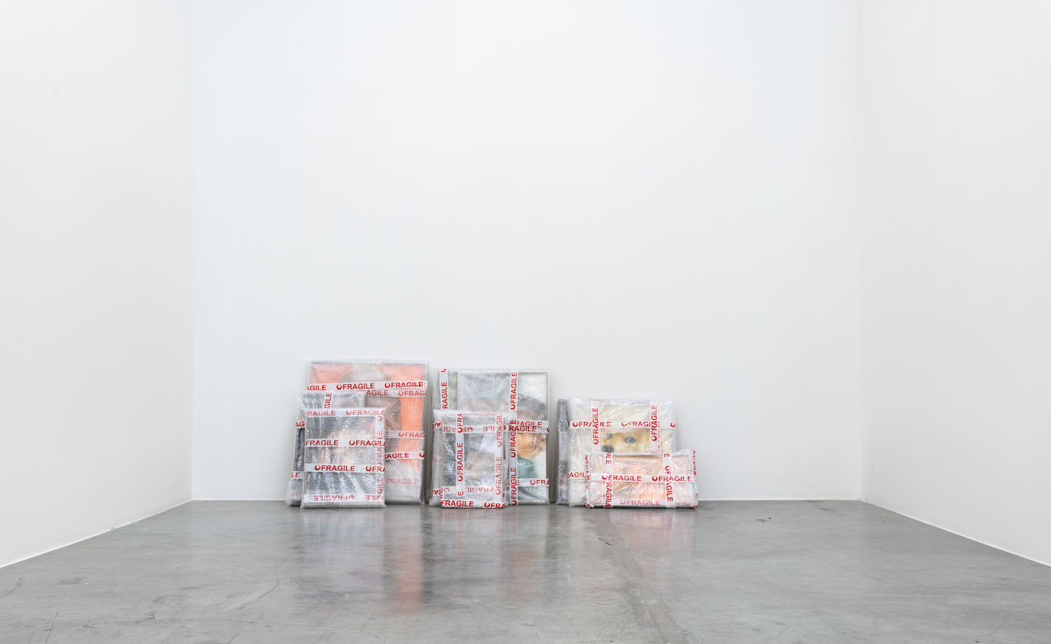 TOP 10 MIDDLE EASTERN ART 2018 Inkjet prints on Hahnemühle, wood, bubble wrap, tape Framed and bubble wrapped prints of various crying memes Dimensions variable