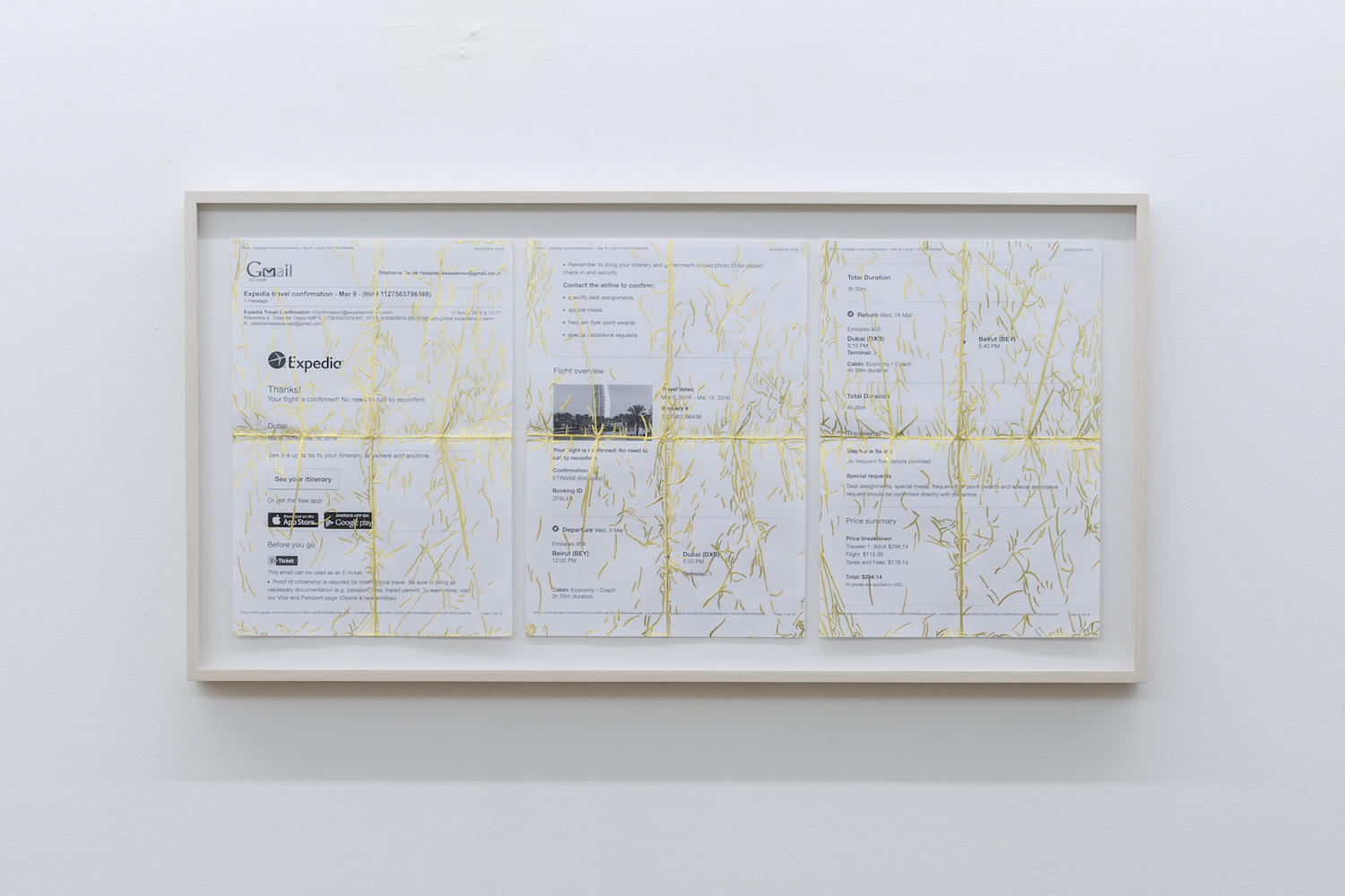 Stéphanie Saadé  Travel Diary 2014 – 2018 Used document, 24-carat gold leaf 21 x 29.7 cm each Unique and part of an ongoing series  Gold leaf is applied on the plights and creases formed on travel documents when used by the artist to leave and return home.