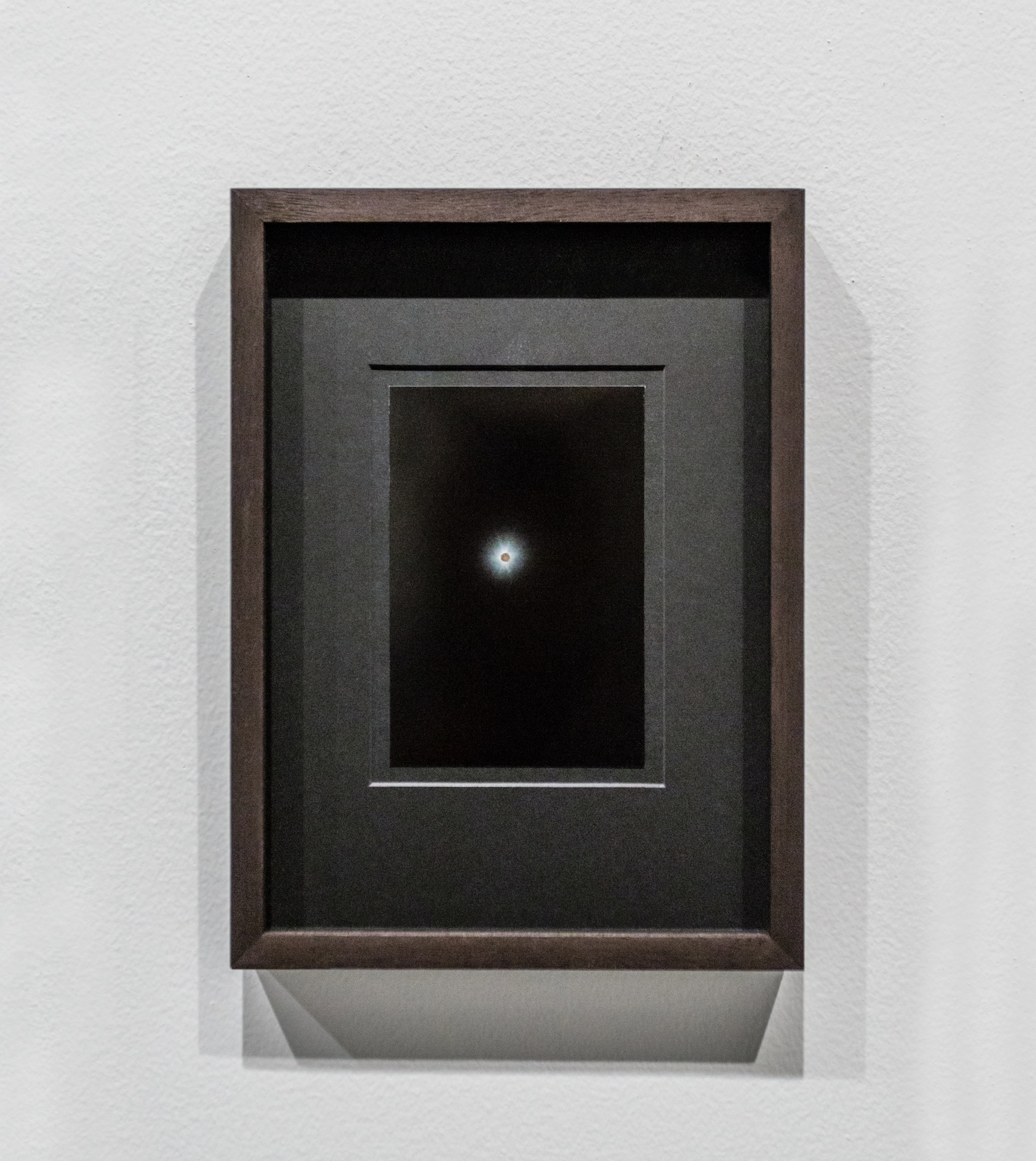 Stéphanie Saadé  Moongold (4) 2016 Photograph, Moon Gold leaf 10 x 15 cm (each) (unframed) On photographs taken by the artist with her mobile phone, the moon, appearing very small, is gilded with Moon Gold leaf.