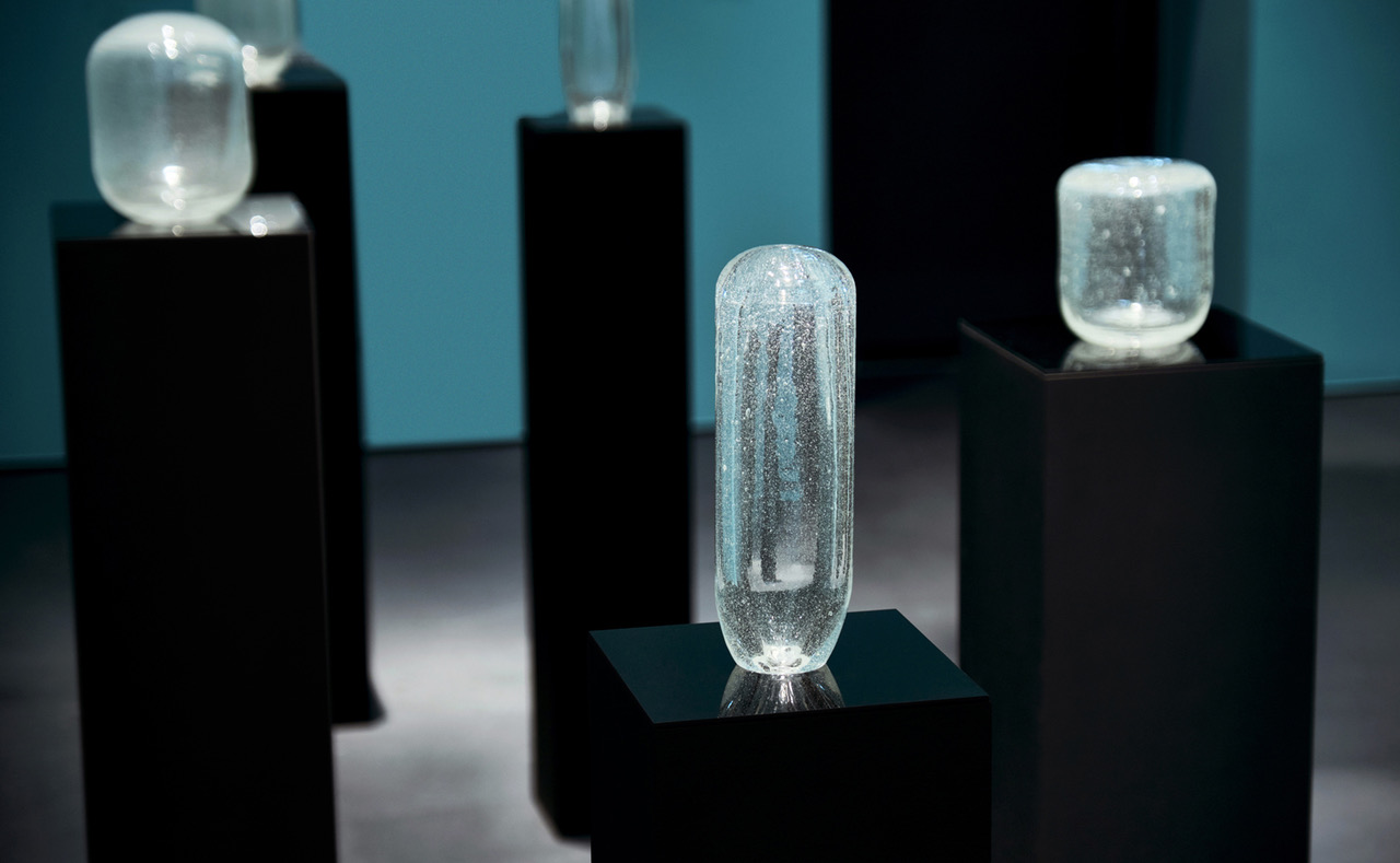 Michael John Whelan  Aqua Lung 2018-19 series of blown glass objects made from sand obtained from a site of Jacques Cousteau's 1954 British Petroleum sponsored Gulf survey. Dimensions variable Installed at 'Crude', Jameel Arts Centre, Dubai.