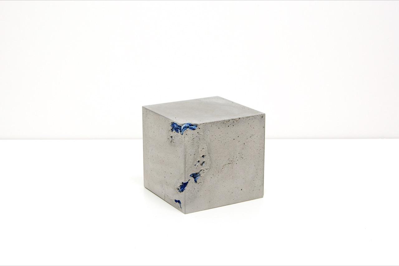 Michael John Whelan  Inclusions (blue nylon rope) 2019 cast concrete cube containing a 98cm blue nylon rope, retrieved 15/11/18 Persian Gulf (near Ras al Khaimah)