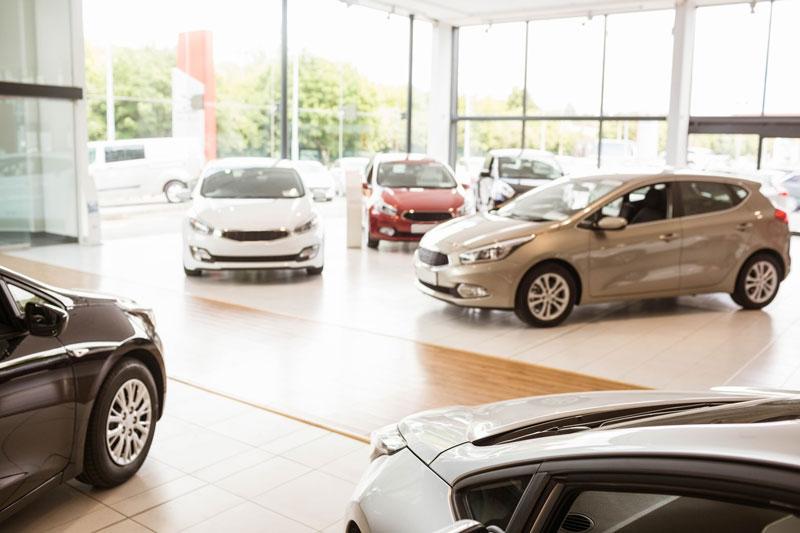 Clean car showroom environment