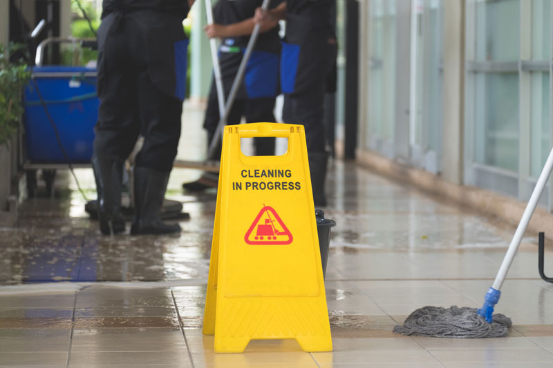 Safe cleaning environment in car showroom