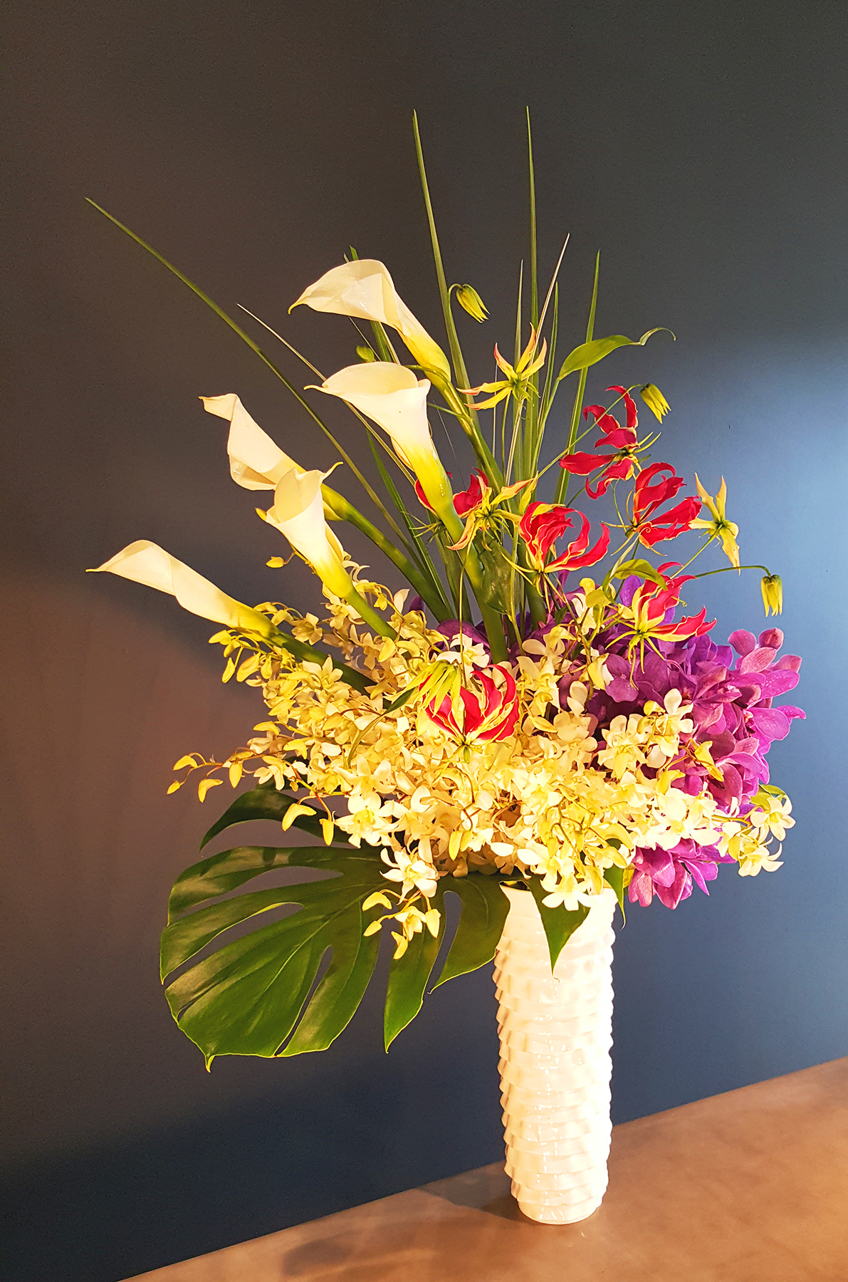 Whimsical floral arrangement for office or restaurant locations