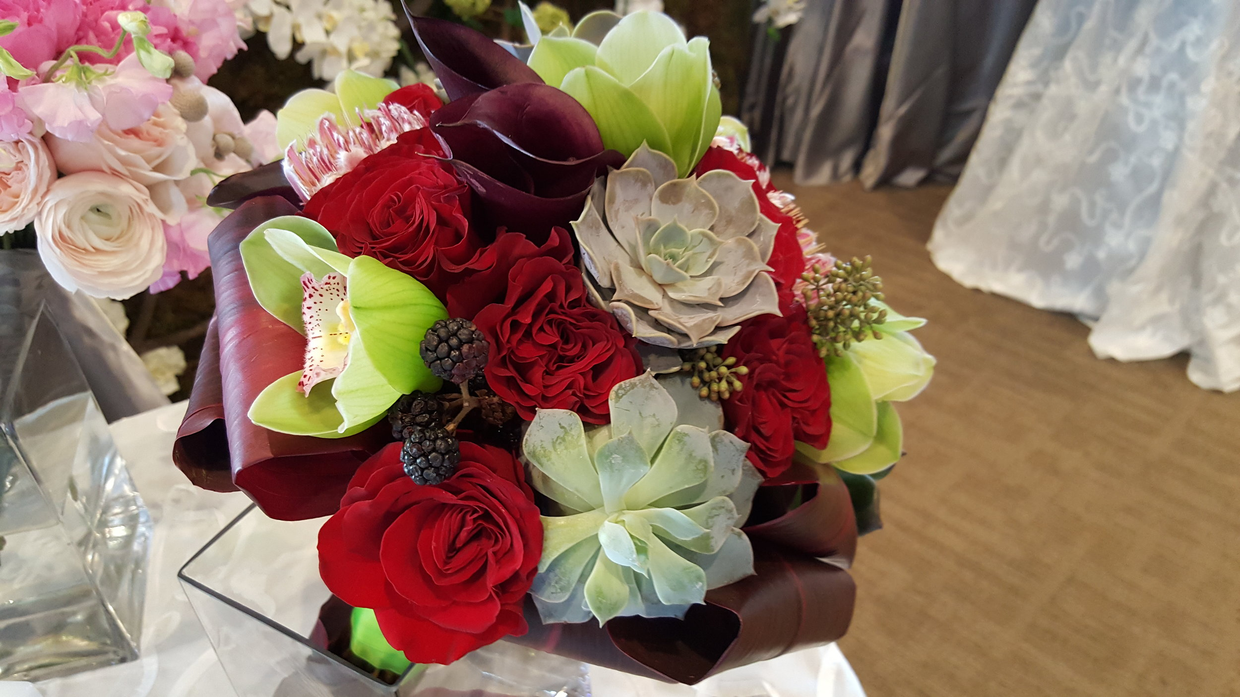 Unique floral arrangement of luxurious flowers made at Bouquets & Beyond of Woodbury