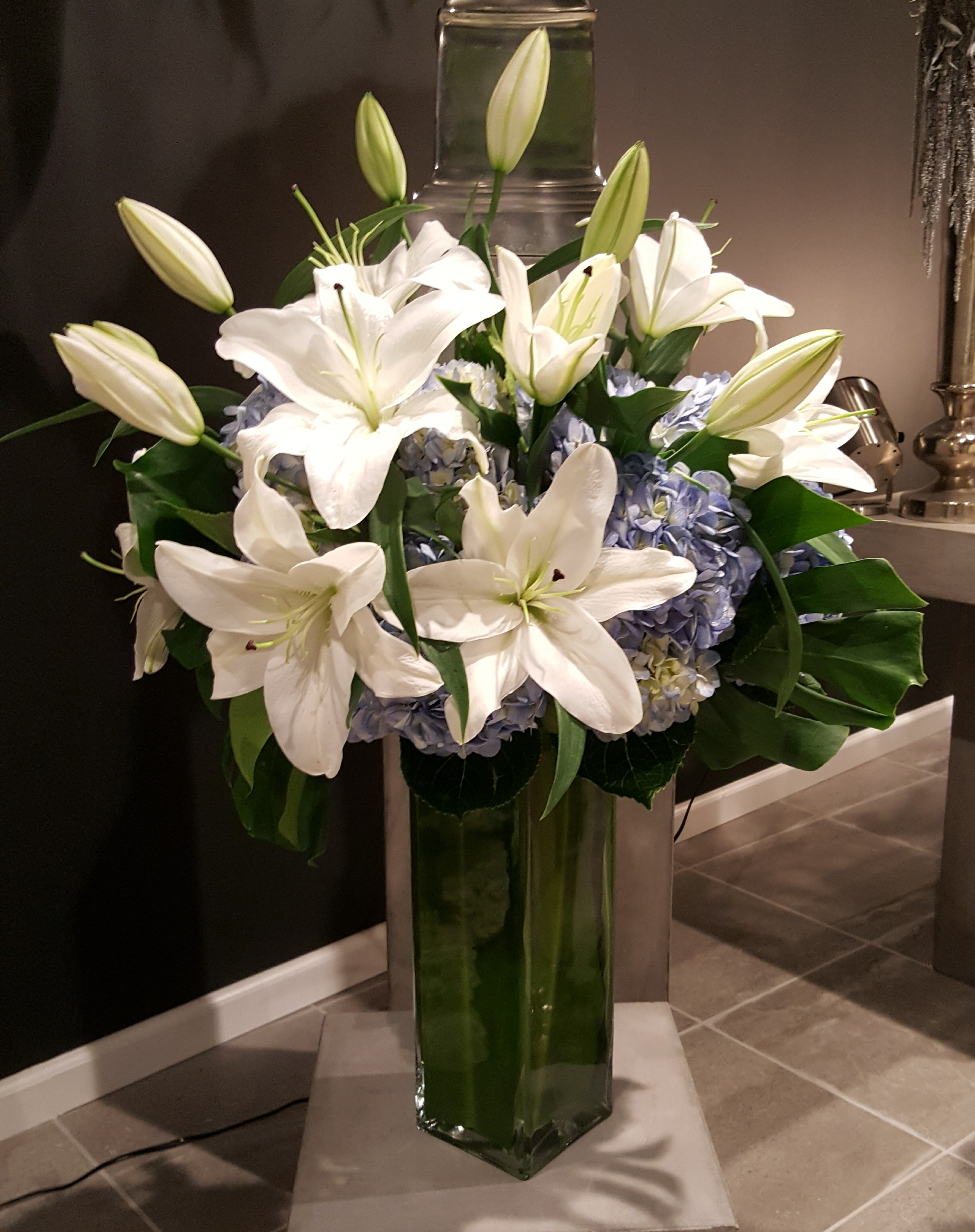 Blue Hydrangeas white Lilies Sympathy Collection_.jpg