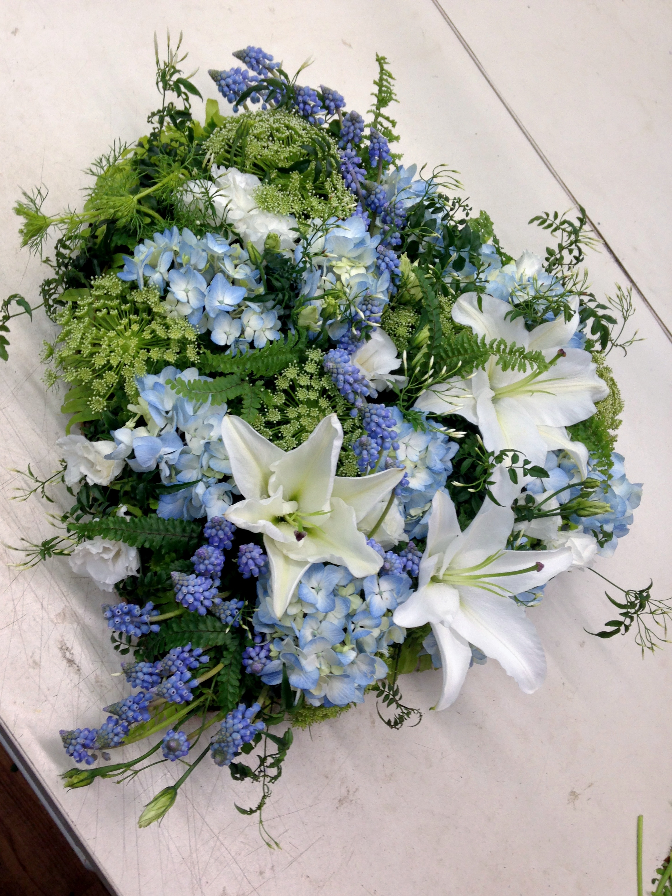Blue Heart Tribute Hydrangeas Lilies Muscari Queen Ann.jpg