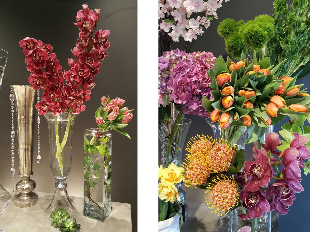 Creative flower arrangements for corporate office or restaurant decor.