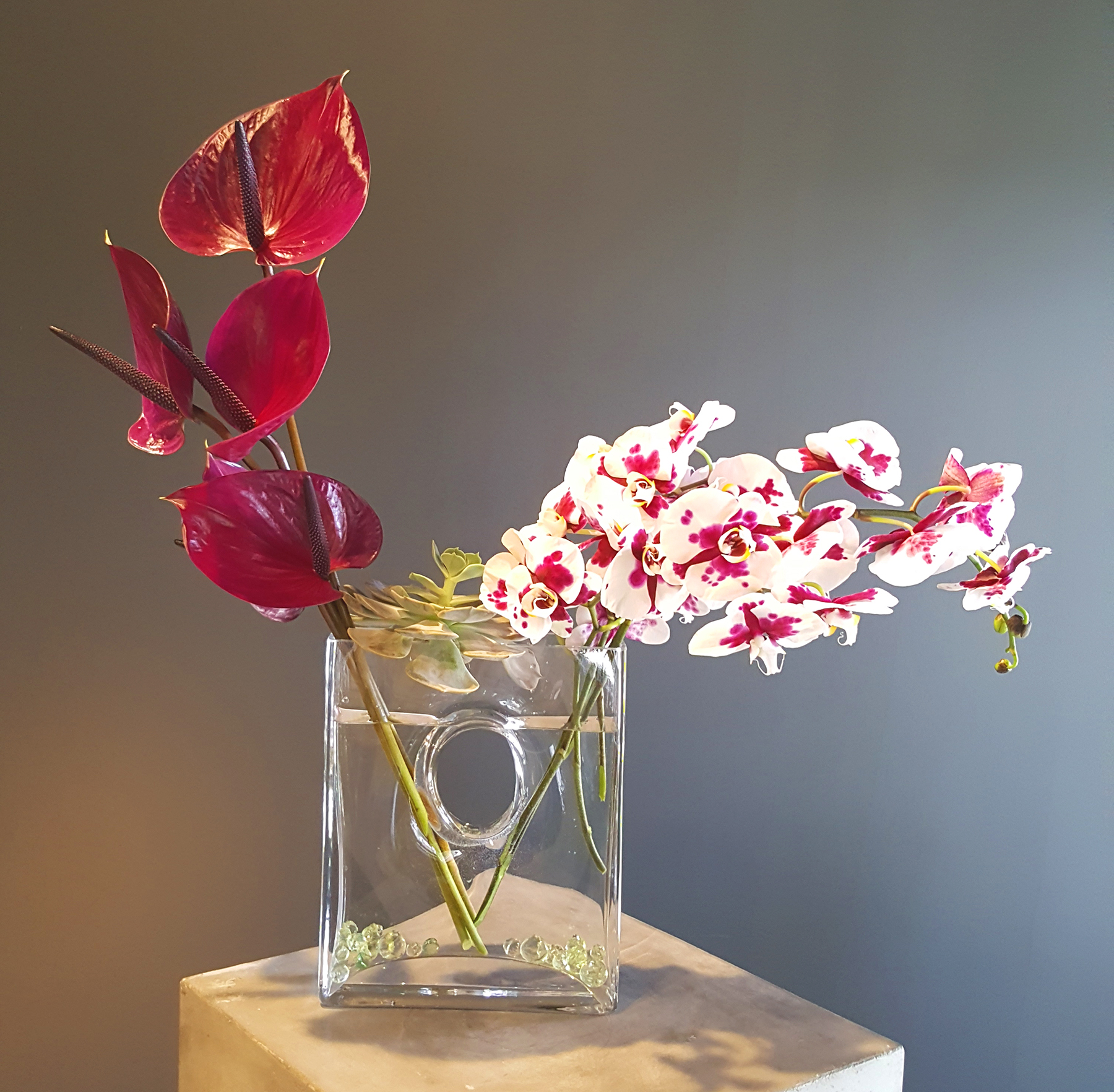 Simple red and white orchids in simple glass vase