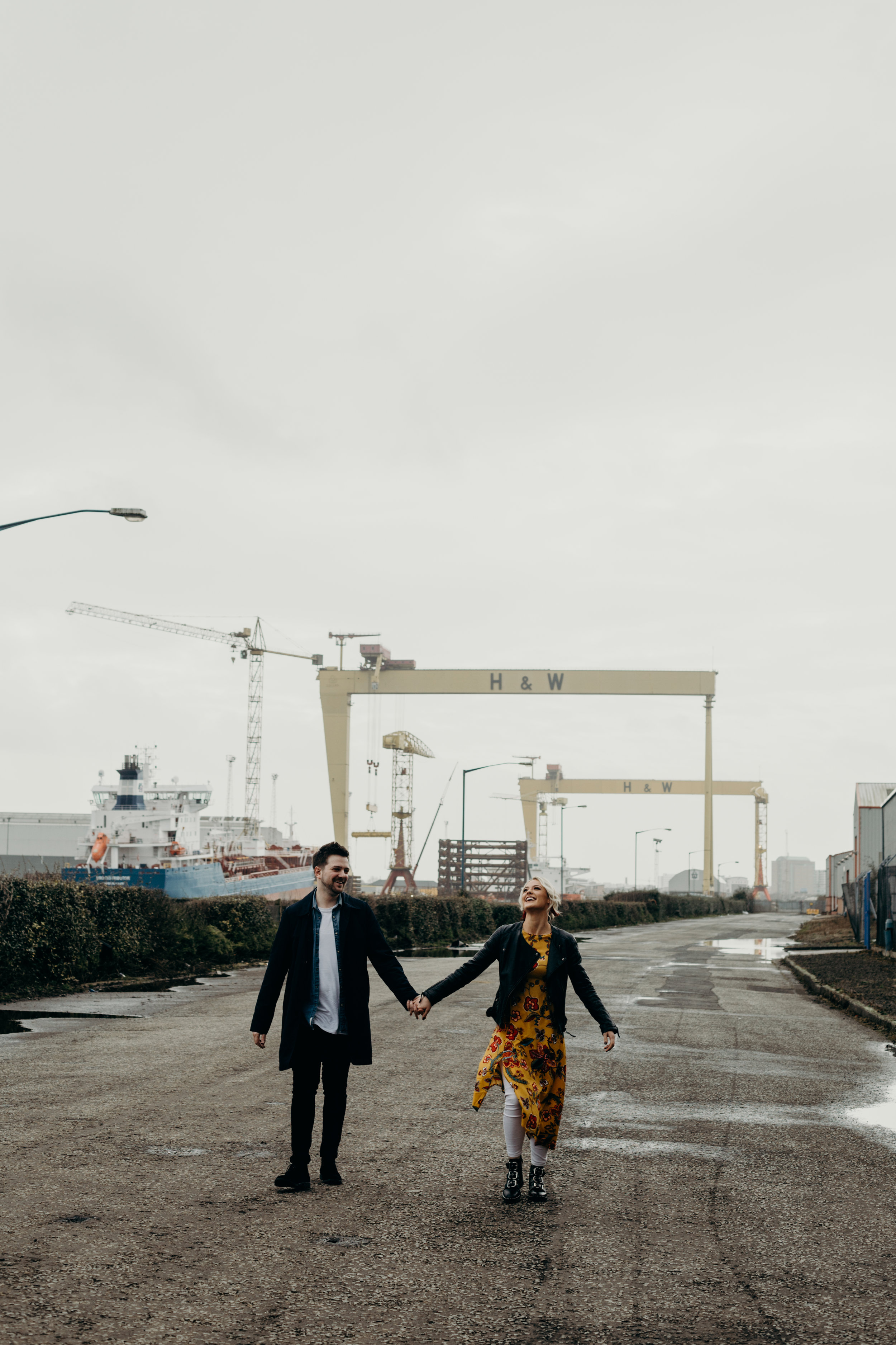 First off we hit the iconic Harland and Wolff. With both Jade and Timmy appreciating fashion they chose complimenting outfits for the location and of course, each other. We took a relaxed approach to create an adventure feel for the day and it totally paid off.