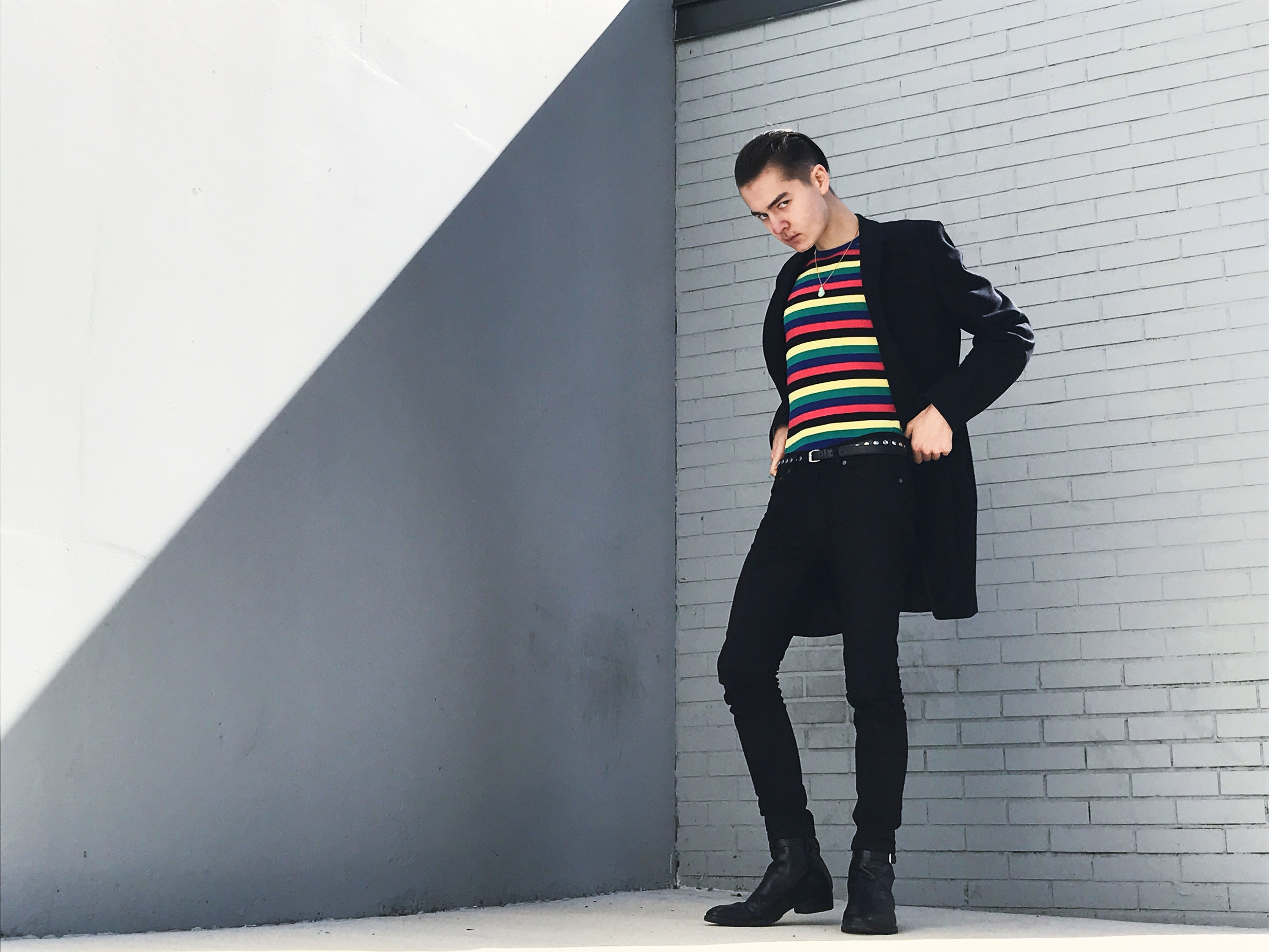 Wearing:   Uniqlo x J.W. Anderson Sweater  Acne Studios Denim  Saint Laurent Paris Boots