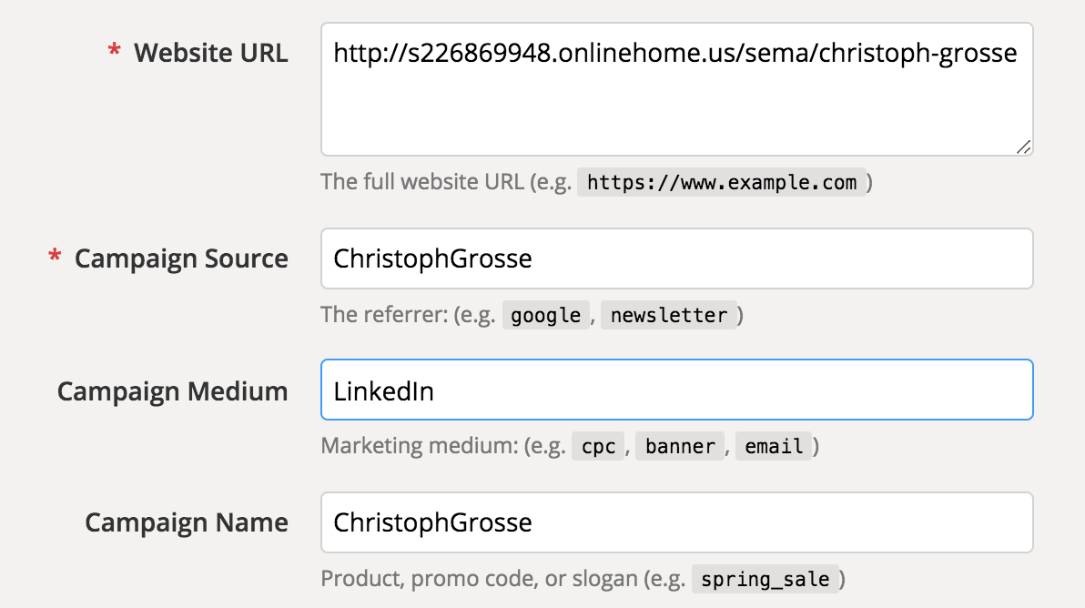 Creating tagged campaign URLs.