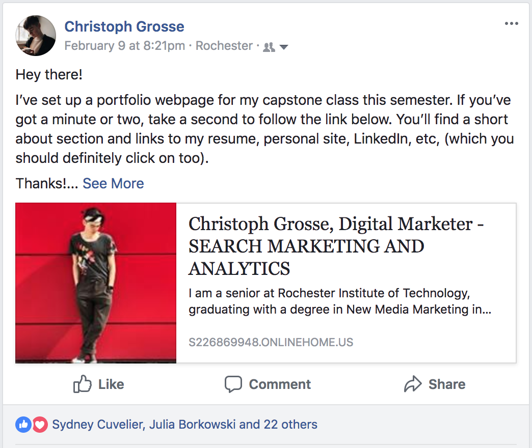 An example of a promotional Facebook post.