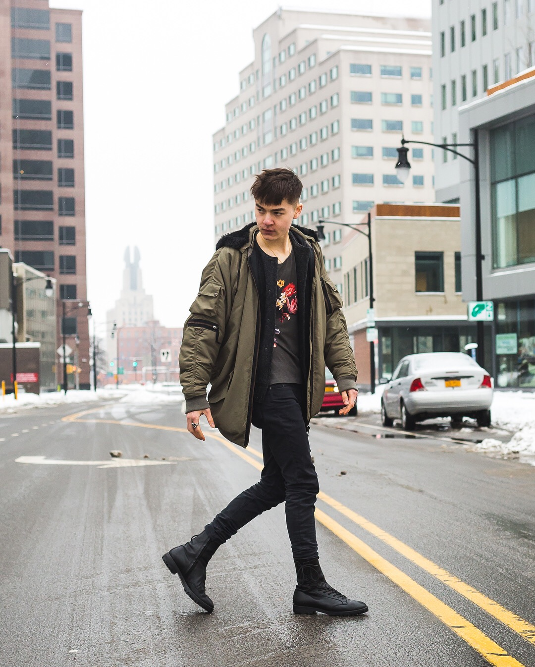 Wearing:   Acne Studios Hydra Bomber  Acne Studios T-Shirt  Acne Studios Denim  Yohji Yamamoto Boots  Photo by Adam Zarowny