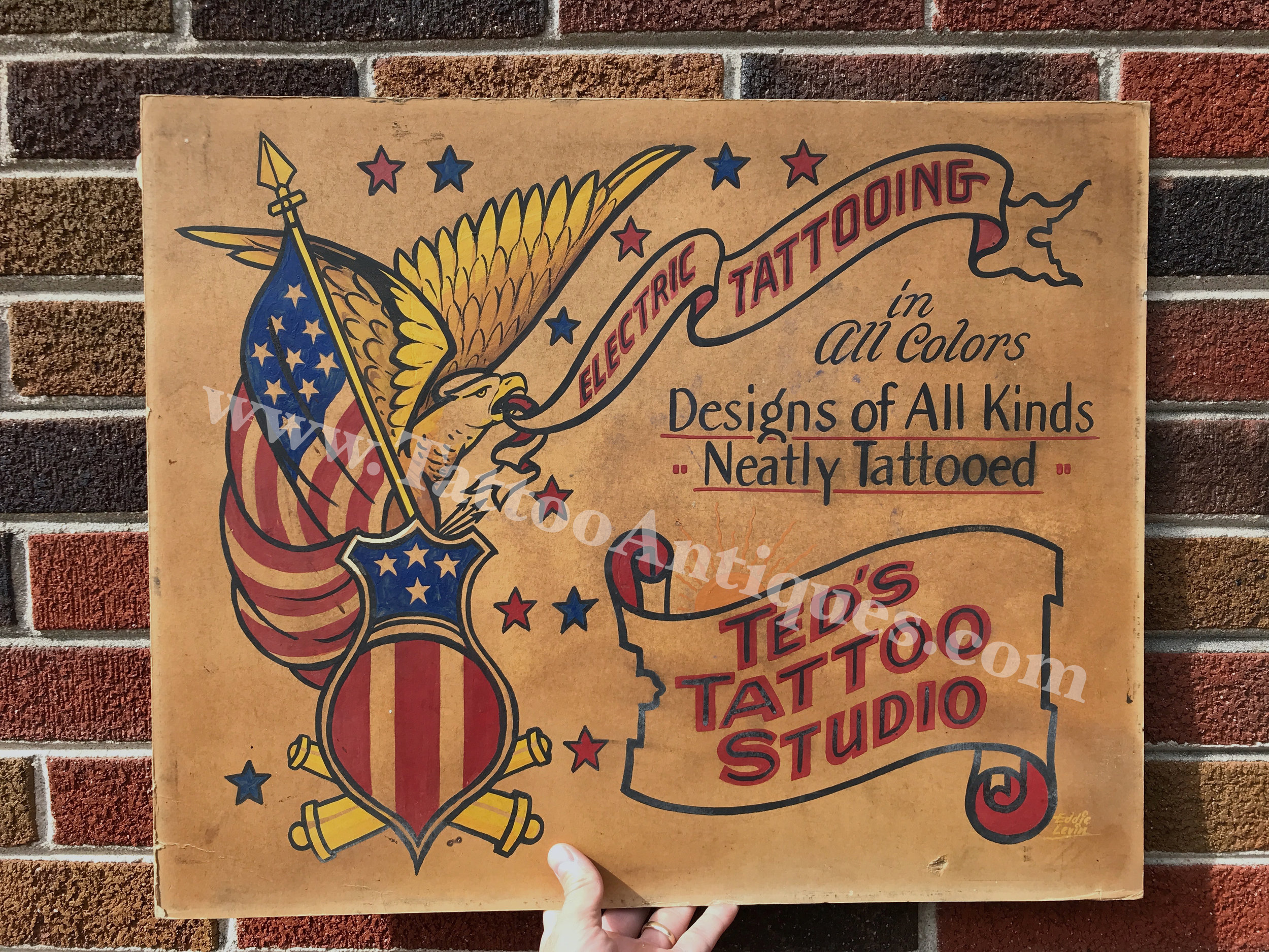 Trade Sign for Ted Liberty's Tattoo Studio, painted by Eddie Levin, Baltimore, ca. 1950