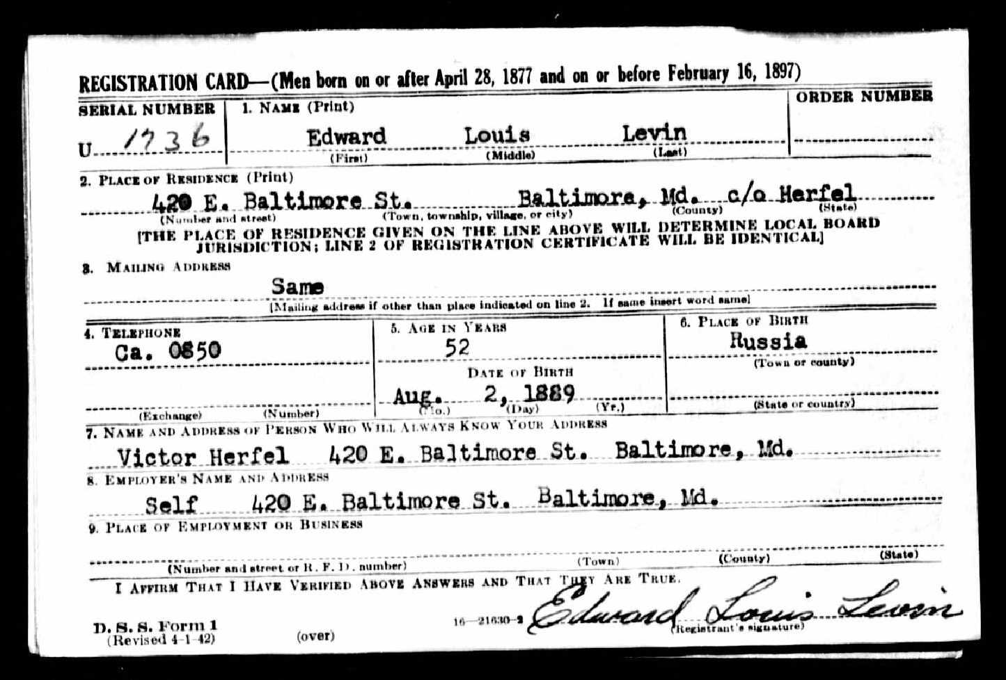 Eddie Levin's WWII Draft Card Showing his Studio Address at 420 E. Baltimore Street. *Note: Victor Herfel operated a photography studio at the same address.