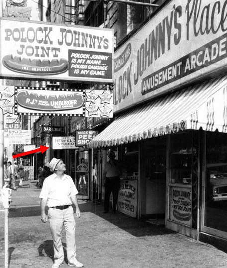 Eddie Levin and Victor Herfel both had studios at 420 East Baltimore Street. Around 1953, Mardi-Gras Amusements at no. 424 became Polock Johnny's; Ted Liberty tattooed upstairs.