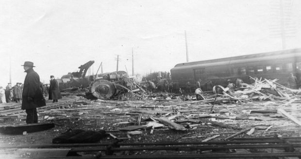 Aftermath of the Hagenbeck-Wallace train wreck near Hammond, Indiana, 1918. Courtesy of the Hammond Public Library