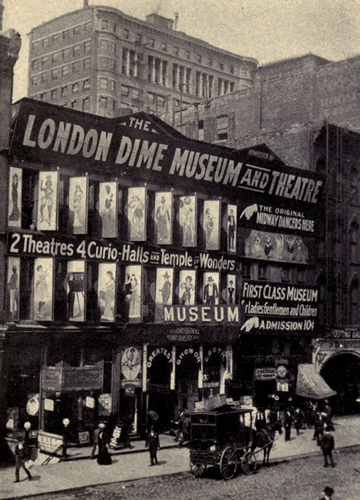 The London Dime Museum, Chicago, ca. 1907. Barney Harkin performed here in 1903.