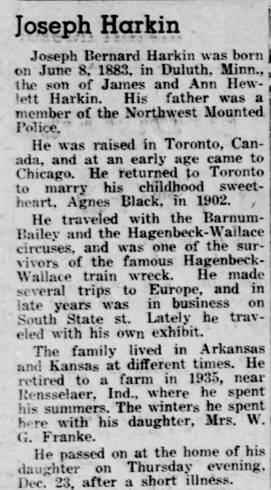 Obituary for Joseph Bernard Harkin,  Arlington Heights Herald , December 31, 1943.