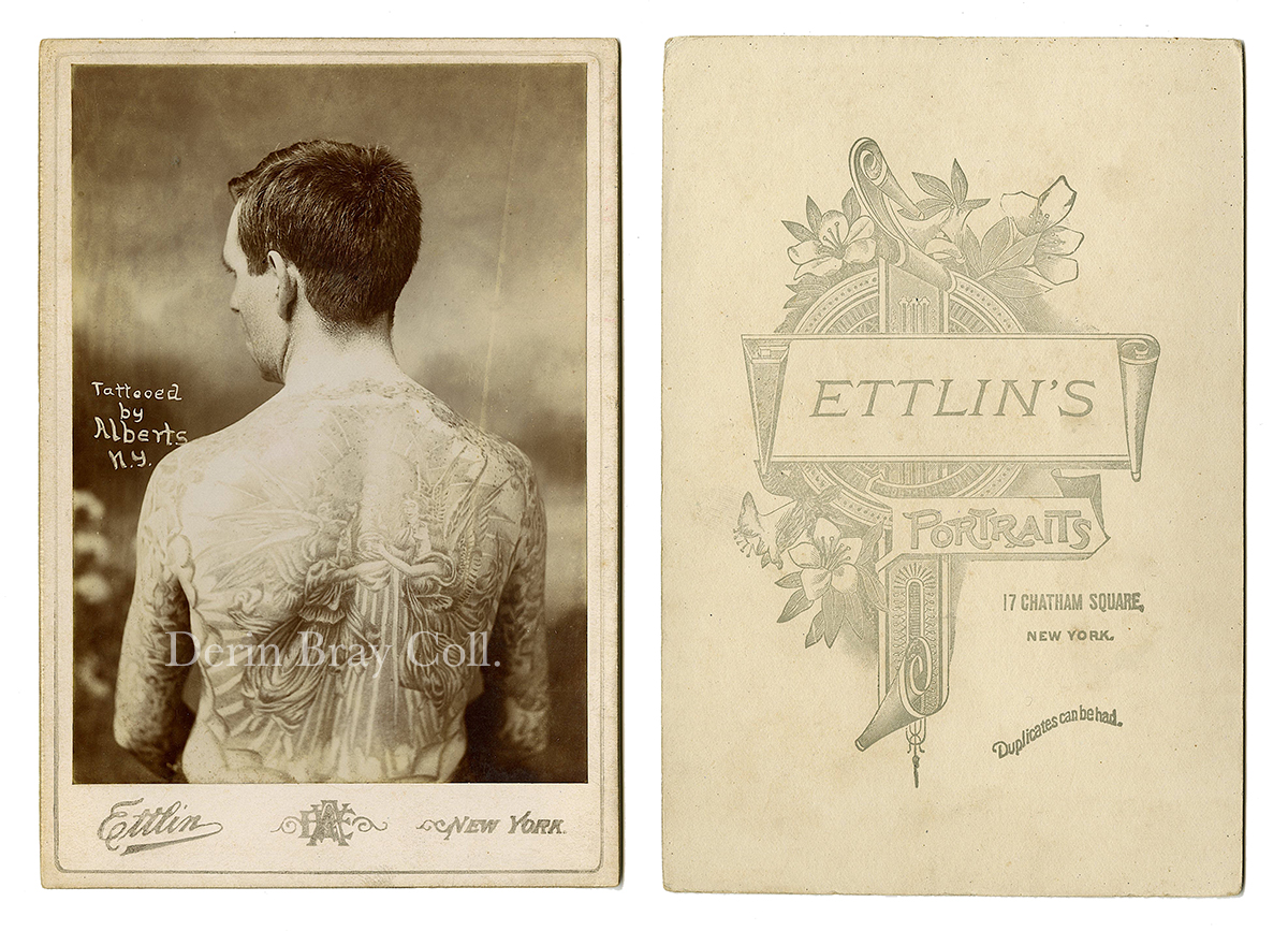 "William Partridge, Tattooed by Lew Alberts. ""Tattooed by Alberts, N. Y.,"" Cabinet Card Photograph by William Ettlin, Ettlin's Portraits, 17 Chatham Square, New York, ca. 1905.  Derin Bray Collection"
