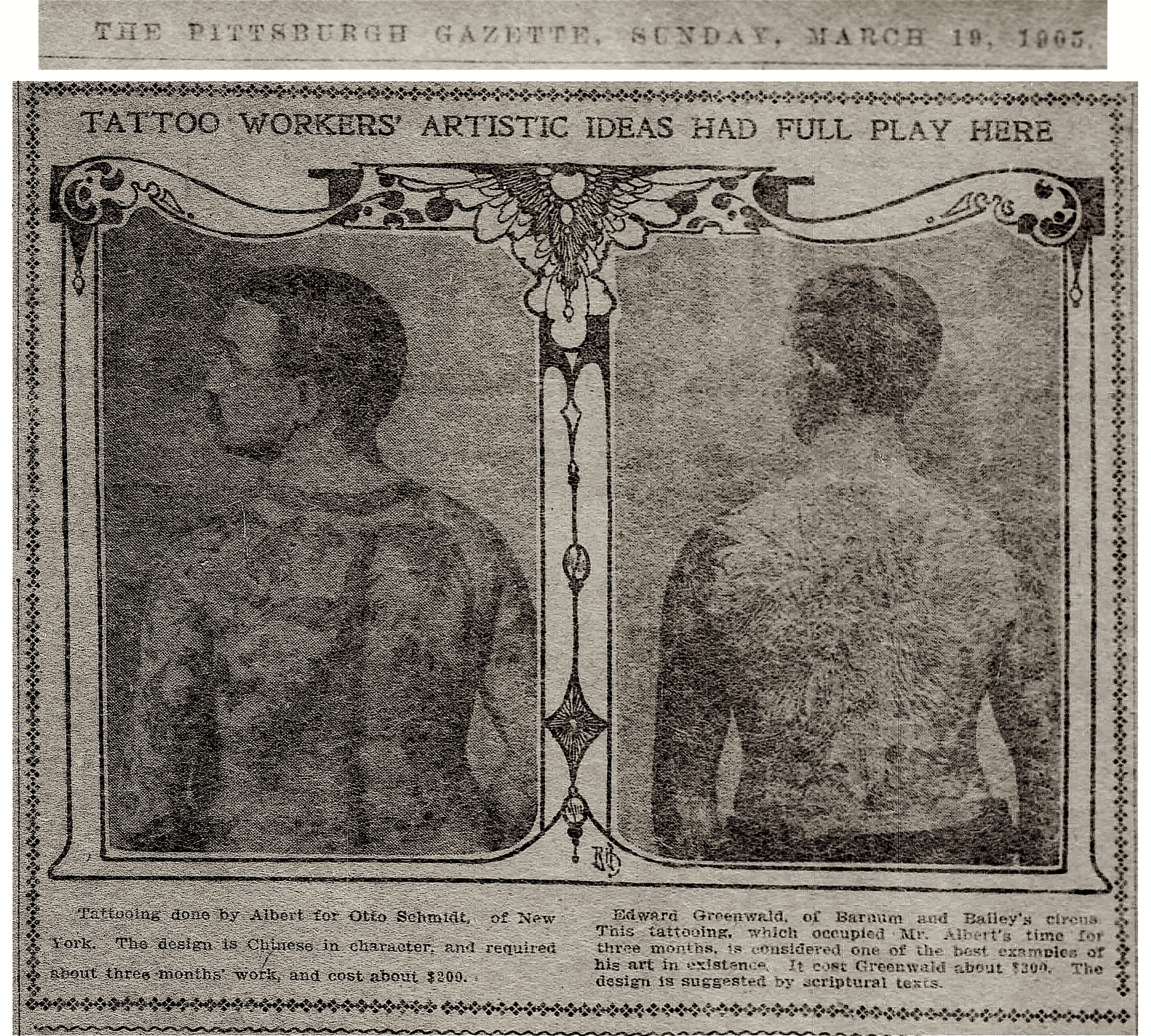 In a 1905 interview, Alberts took credit for tattooing Otto Schmidt, raising the possibility that he had some association with Elmer Getchell at 11 Chatham Square. Alberts also stated that he tattooed Ed Greenwood, whose work is often attributed to Charlie Wagner.  Pittsburgh Weekly Gazette , March 15, 1905.