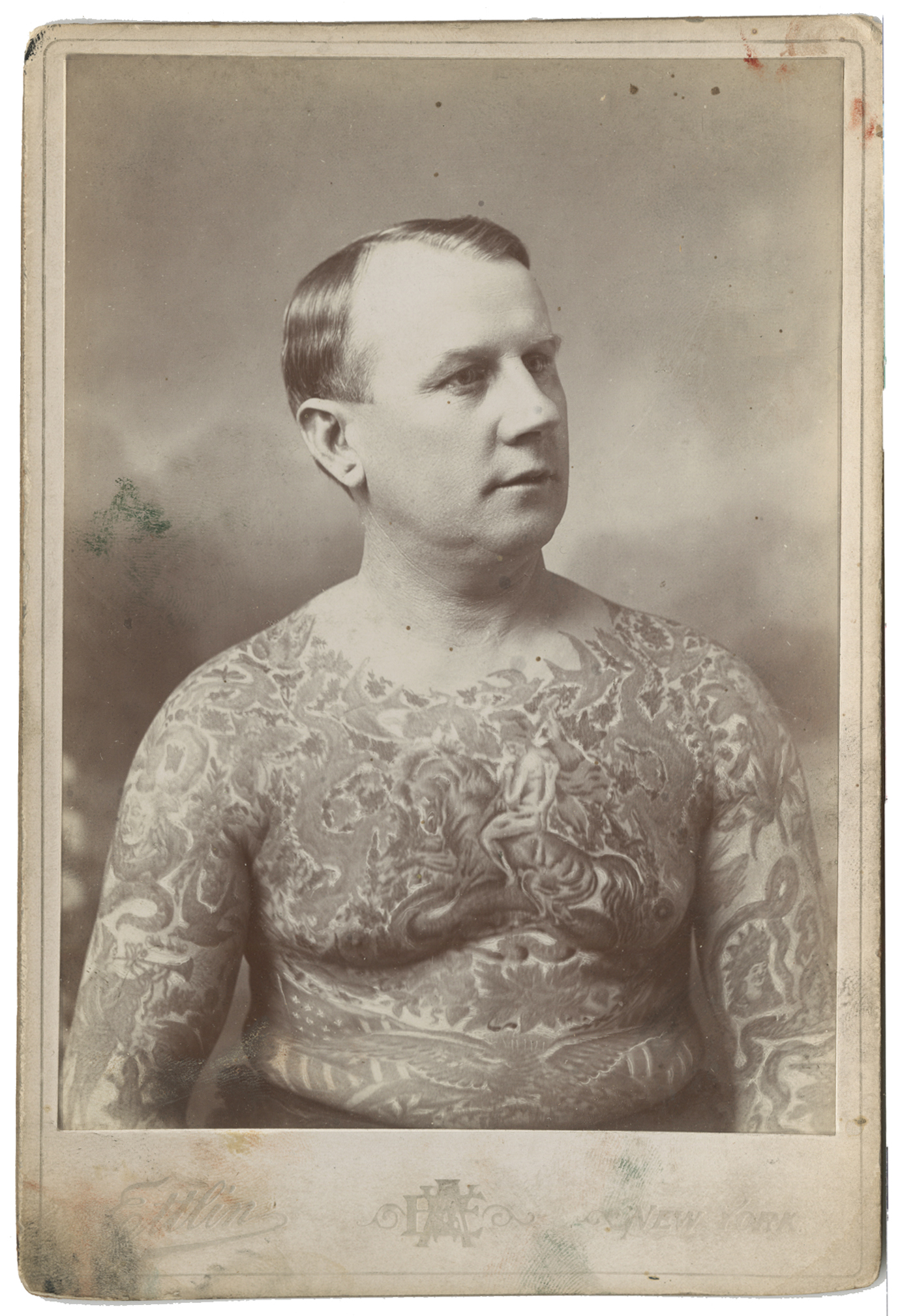 Ed Greenwood, Tattooed by Charlie Wagner and Lew Alberts, Cabinet Card Photograph by William Ettlin, Ettlin's Portraits, 17 Chatham Square, New York, ca. 1903.  Harry Ransom Center, The University of Texas at Austin
