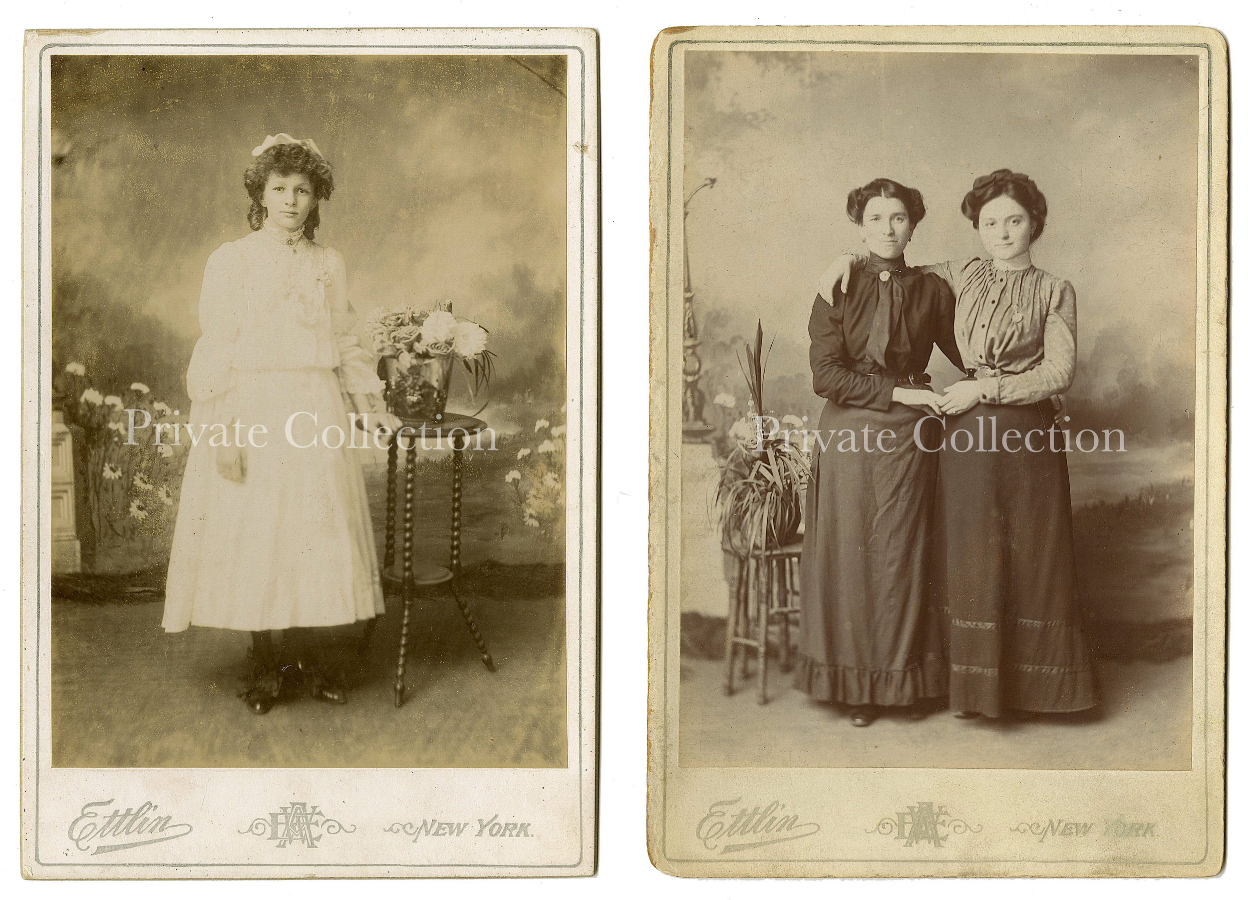 Cabinet Card Photographs, by William Ettlin, 17 Chatham Square, New York, ca. 1905.  Private Collection