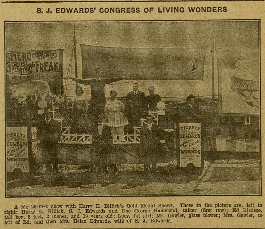 S. J. Edwards' Congress of Living Wonders.  Billboard , Apr. 23, 1921