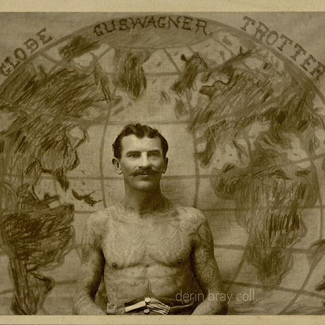 "Tattoo folk hero Gus Wagner, ""Globetrotting Artist and Taxidermist,"" as he looked during his stint at the St. Louis World's Fair in 1904. Detail of a cabinet photo. #tattoohistory #guswagner #tattoofolkhero #globetrottingartist"