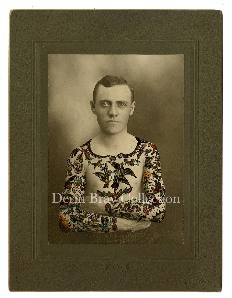 Edward J. Miller, Tattooed by Gus Wagner, cabinet photo by Fowler, hand-painted by Gus Wagner, Marietta, Ohio, ca. 1902.   Derin Bray Collection