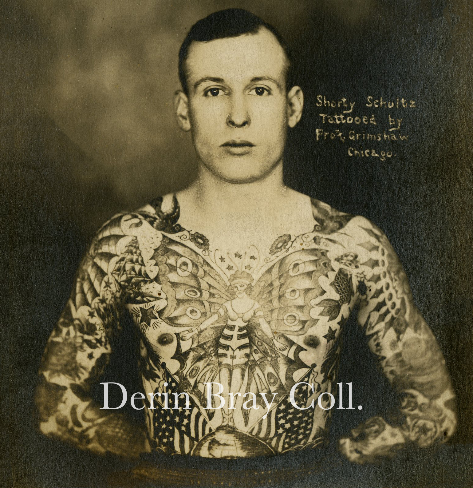"""Clarence """"Shorty"""" Schultz, tattooed by Prof. William Grimshaw, Chicago, ca. 1919.   Collection of Derin Bray"""