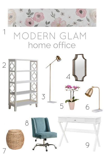 modern glam home office with brass and pink accents